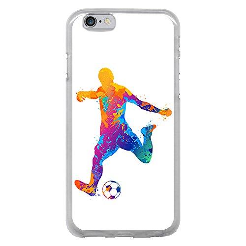 BJJ SHOP Custodia Trasparente per [ iPhone 6 6S ], Cover in Silicone Flessibile TPU, Design: Acquerello del Calciatore con Spruzzi di Colore