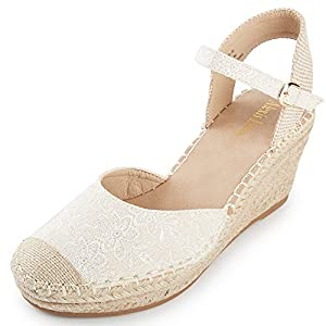 Alexis Leroy Women's Embroidered Closed Toe Buckle Strap Espadrilles Wedge Sandals Apricot 9-9.5 M US