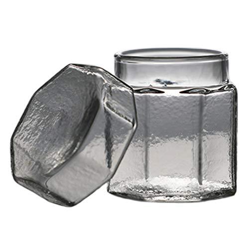 Cabilock Pequeños Botes de Vidrio Tarro de Almacenamiento de Alimentos de Cocina Recipiente de Comida Vacío Decorativo con Tapas para Té Caramelo Galleta Azúcar Harina Hierbas Condimento
