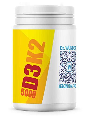 Dr. Wunder® Vitamin D3K2 5000 hochdosiert |60 Softgel-Kapseln mit Kokosöl |Vitamin D3 5.000 I.E. (Cholecalciferol) | Vitamin K2 200µg (Menachinon all-trans) |hohe Bioverfügbarkeit
