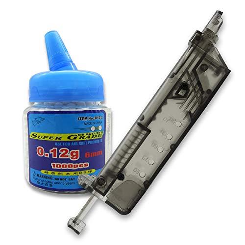 Rayline BB1000 Spender 0,12g + Speedloader Ladehilfe Softair Airsoft Pistole Gewehr 90 Kugeln 6mm Kunststoff