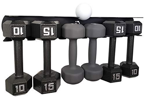 IRON AMERICAN - Multi-Purpose Hex Dumbbell Holder & Spray Bottle Storage Rack-Wall Mount Shelf Hanger 23 inch 75lb Total Capacity - Weight Rack Home Gyms/Fitness Gear - Store Dumbbells Gym Equipment