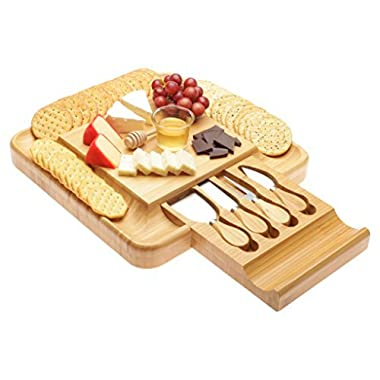 Bamboo Cheese Board with Cutlery Knife Set, Wood Platter and Serving Tray with Slide-Out Drawer with 4 Stainless Steel Knife and Server Set