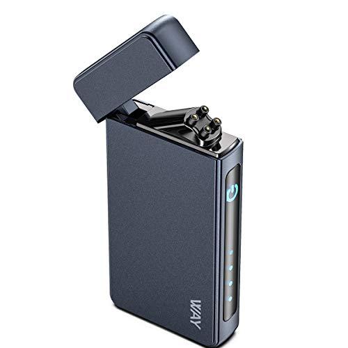 VVAY Mechero eléctrico de arco eléctrico, recargable por USB, resistente al viento, arco de plasma, sin llama, color azul