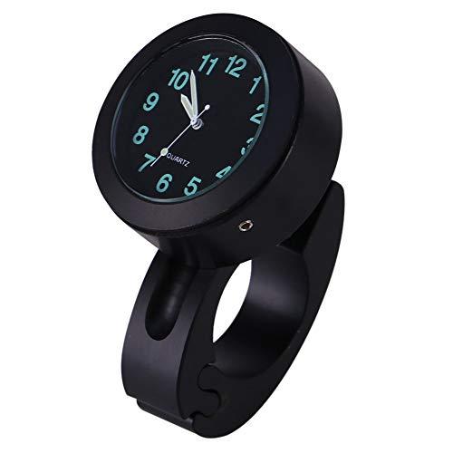 Universal 7/8-1in Impermeable Aluminio Moto Manillar Soporte Reloj Glow Watch (Negro)