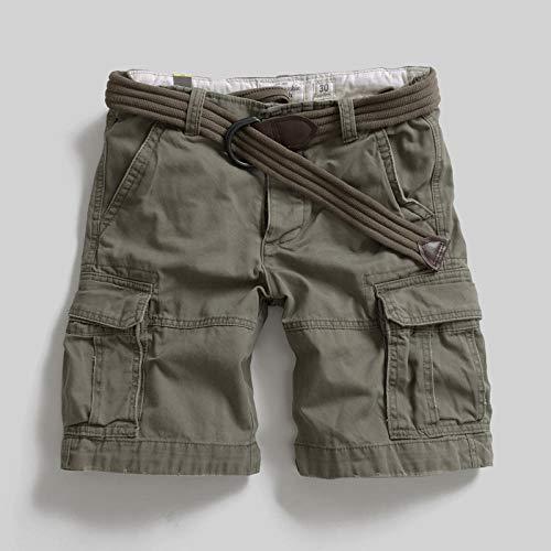 lxylllzs Bermuda Pantalon Court Multi Poches,Salopette d'extérieur surdimensionnée, Pantalon à Cinq Poches à Poches Multiples Short-Gris 2_32,Shorts Cargo Homme Rétro Baggy,