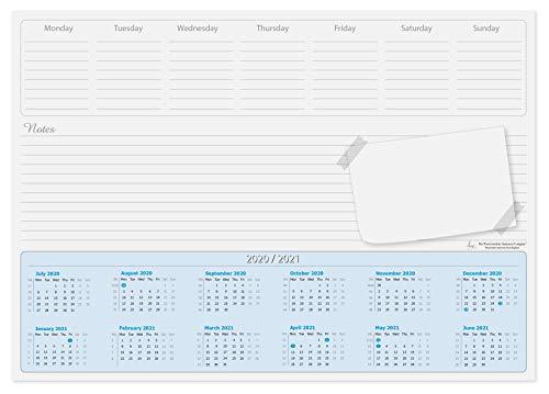 Almohadilla de escritorio de calendario A3 (mediados de año), 2020-2021, 50 hojas por almohadilla con días de la semana