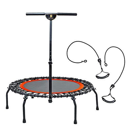 Trampolino Elastico Mini Fitness con Manubrio, Tappetino Elastico da 112 cm, per Esercizi Fisici e Cardio, Peso Massimo di 130 kgs