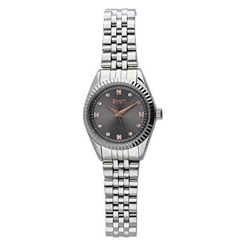 Stroili - Solo tempo cassa e bracciale in acciaio e cristalli - quadrante antracite per Donna