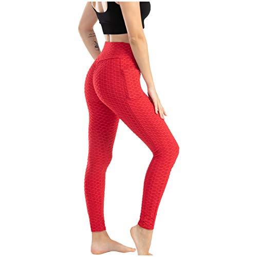 UJUNAOR Damen Mode Sportleggings Yoga Pants Tasche Blase Yoga Hosen