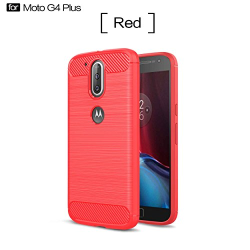 Guran Case For Lenovo Moto G4 Plus (5.5 inch) High Impact Shockproof Resistant Protective Case carbon fiber Design Soft silicone TPU phone Cover (Red)
