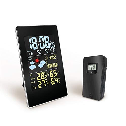 Professionelle Funkwetterstation, Digital-Wetterstation-Radio mit Außensensor, Wireless Digital-Thermometer-Hygrometer mit Farb-LCD, Wettervorhersage