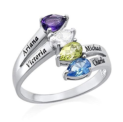 YUOTO Anillos de piedra natal para mujer, anillo de infinito personalizado para madres con 4 piedras natales grabadas personalizadas, anillos de compromiso de amor para mujeres, regalos de cumpleaños