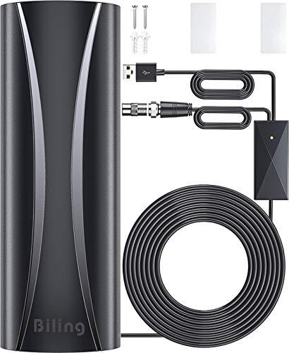 Antenne TV Extérieure Intérieure, Antenne HDTV Numérique Intelligente Amplificateur de Signal de Gamme 250KM, avec 10M Câble Coaxial,4K 1080P Ultra HD VHF/UHF/FM