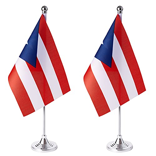 ZXvZYT 2 Pack Puerto Rico flag Puerto Rican Table Flag Small Mini Puerto Rican Desk Flags With Stand Base,International Festival Events Celebration Decorate,Home office Decorations