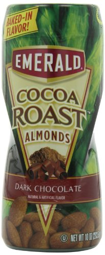Emerald Cocoa Roast Almonds, Dark Chocolate, 10 oz Canister (Pack of 4)