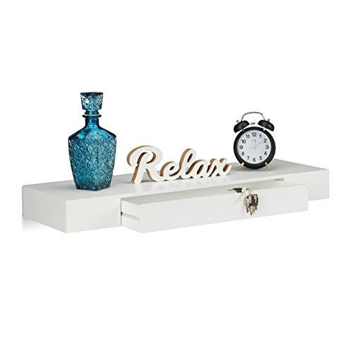 Relaxdays 10021906_49 Balda Flotante con cajón, Madera, Blanco, Largo