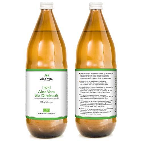 Jugo 100% orgánico de Aloe Vera | Fileteado a mano | Rico en ingredientes naturales | Promedio 1200 mg / l Aloverose | 3 x 1000ml