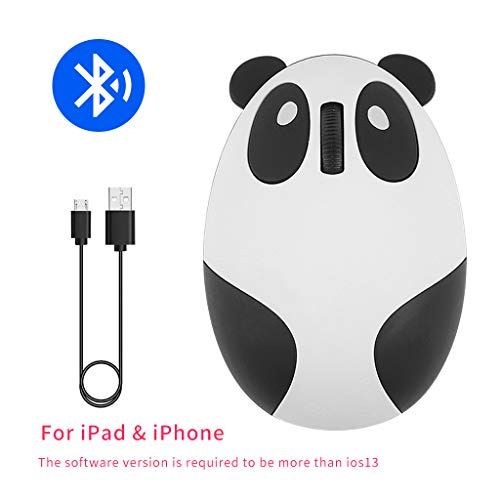 Cute Wireless Bluetooth Panda Mouse,Mini Rechargeable Gift Cartoon Computer Mice for Kids,Silent Click-White