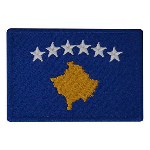 FanShirts4u Aufnäher - Kosovo - Fahne - 8 x 5,5cm - Flagge Wappen Bestickt Patch Badge KOSOVA (Blaue Umrandung)