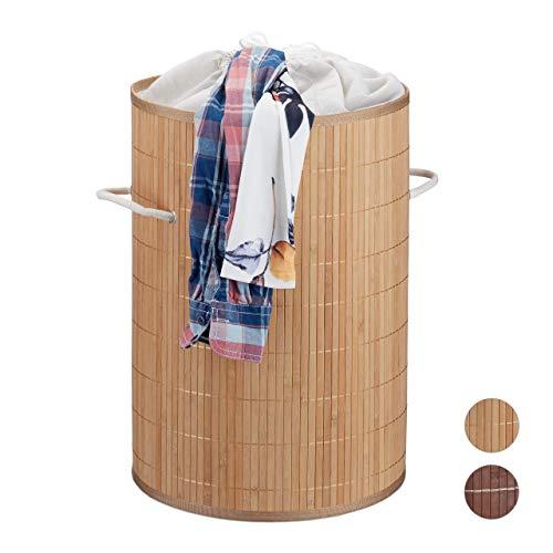 Relaxdays, Natur Wäschekorb Bambus, offen, runder Wäschesammler, f. 40l Schmutzwäsche, faltbar, Wäschetonne 50 cm hoch, Standard
