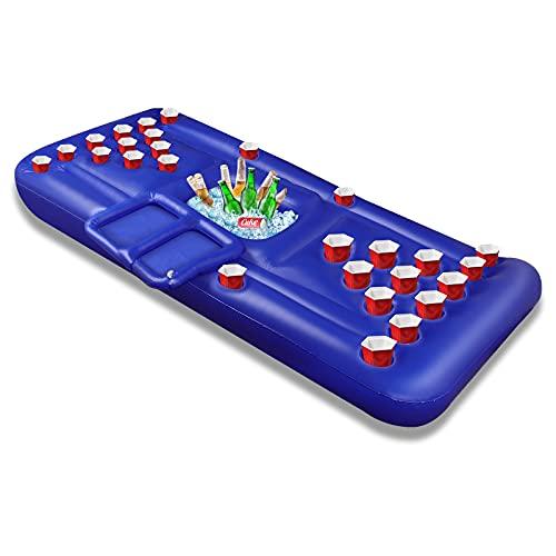 Bier Pong Pool Spiele Aufblasbare Schwimmende BierPong Tisch für Sommerparty Pool Float, Kühler, Pool Party Lounge Floß für Erwachsene - 28 Getränkehalter