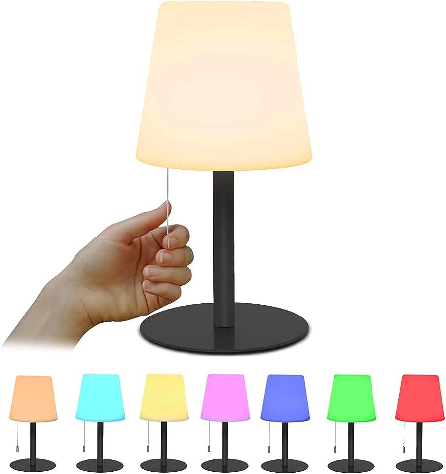 Tischlampe 8 Farben RGB Nachttischlampe Mit Dimmbares Farbwechsel Nachtlicht Mit Für Wohn- und Schlafzimmer Tischlampe Nachttischlampe Kabellos & per USB Aufladbar Schwarz