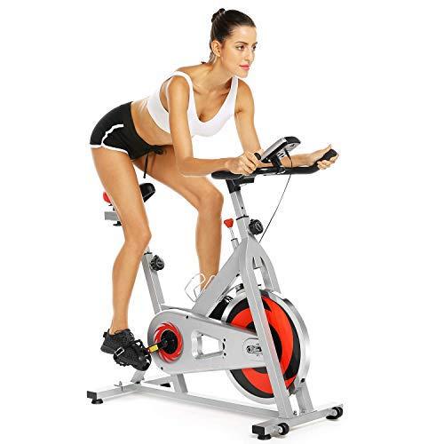 Profun Bicicleta Estática de Spinning Profesional, Ajustable Resistencia, Pantalla LCD, Bicicleta Fitness de Gimnasio Ejercicio con Volante de Inercia, Sillín Ajustable, Máx.130kg (Blanco+Rojo)