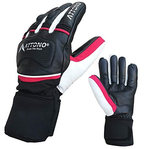 ATTONO Damen Skihandschuhe Leder mit Softshell Ski Race Snowboard Handschuhe - Größe L