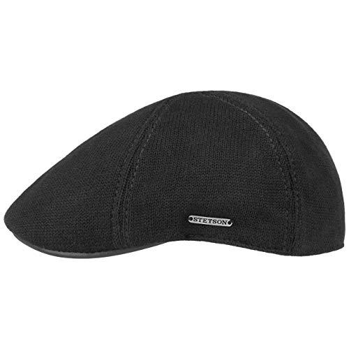 Stetson Muskegon Gatsby Cap - Schirmmütze Herren - Strickcap mit Schirm aus Leder - Schiebermütze Herbst/Winter - Flatcap schwarz L (58-59 cm)
