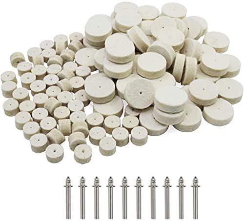 Wollfilz Polierscheibe,100 Stücke Polierscheibe Drehwerkzeug mit 10 Stücke Schaft Für Dremel Multifunktionswerkzeug (13mm 25mm)