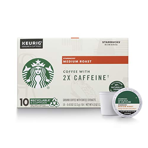 Starbucks Medium Roast K-Cup Coffee Pods with 2X Caffeine — for Keurig Brewers, 10 Count (Pack of 6)
