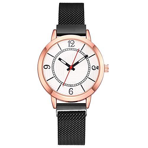 Powzz ornament Relojes de moda Reloj clásico de mujer con correa de malla de aleación-negro