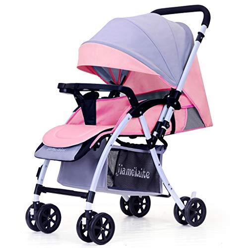 0-36 Monate Baby Kinderwagen 3 In 1 Kinderwagen Leichte Kinderwagen Reversible Stubenwagen Faltbare Infant Reise Buggy High-Carbon-Stahlrahmen (Farbe : Gray pink)