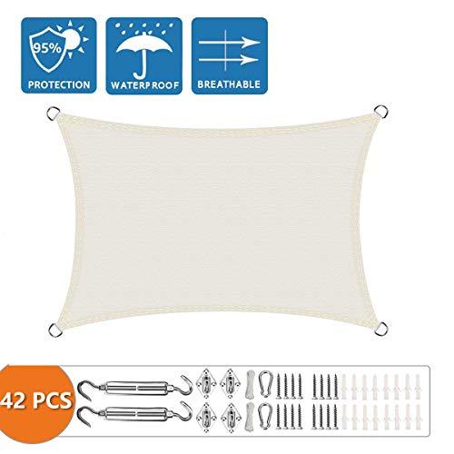 Parasol rectangular XXJF para mantener fresco 95% UV bloque resistente al agua, toldo rectangular de tela de poliéster perfecto para exteriores patio jardín patio, beige, 3x4m