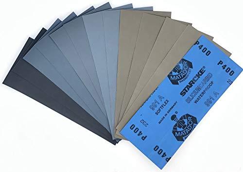 12 Blatt Schleifpapier Sortiment 230 x 91 mm |Made in Germany| P5000 P3000 P2000 P1000 P800 P400 |Wasserfest Nass & Trocken| Sandpapier SET Schmirgelpapier