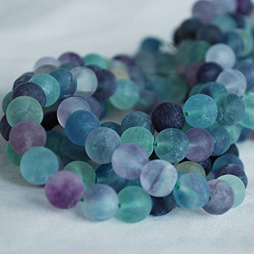 Perles rondes en fluorite arc-en-ciel naturel givré mat de qualité A - 4 mm - 15,2 cm