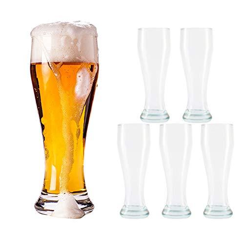 YNC Weizenbiergläser 6er Set, Bierglas Set geeicht bei 0.45L, Weizenglas Weißbier-Glas Gastro Hotel-Restaurant, Bar