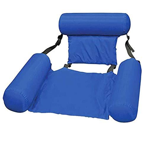 CYSJ Piscina Gonfiabile sedie a Sdraio Amaca Gonfiabile con Rete Amaca Gonfiabile Galleggiante Reclinabile Sedia di drenaggio Galleggiante Spiaggia Sport Acquatici Sedia - Blu