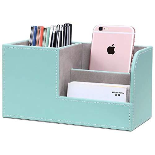LILAN PUレザー 卓上収納ボックス 卓上収納ケース デスク収納ボックス 文具収納ボックス 鉛筆スタンド ペン立て おしゃれ(緑)