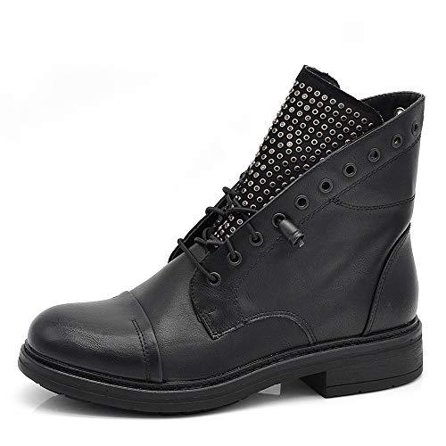 IF Fashion Stivaletti Stivali Invernali Scarpe da Donna Lacci Anfibi Borchie Strass 621 Nero 37