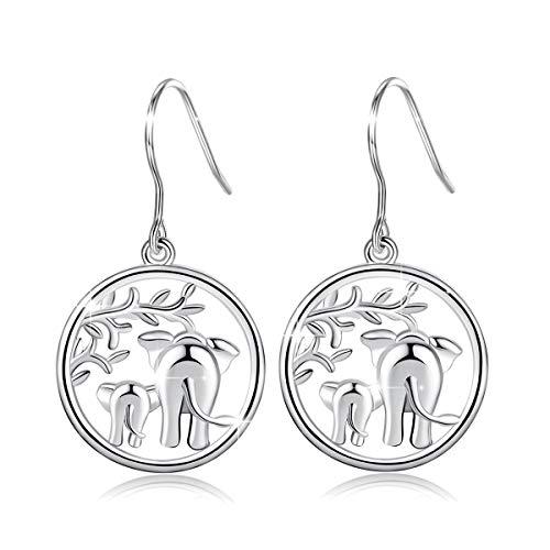 Elephant Earrings, AEONSLOVE 925 Sterling Silver Lucky Elephants'Family Love' Drop Dangle Earrings for Women, Romantic Birthday Gift for Her