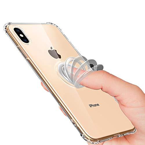 NALIA Pop-Up Ring Hülle kompatibel mit iPhone XS Max, 360° Finger-Halter mit Push-Funktion, für magnetische KFZ-Halterung, Silikon Schutzhülle Cover Phone Hülle Handyhülle Schale, Farbe:Transparent