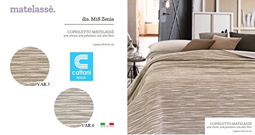 Couvre-lit pour lit 2 personnes - Tissu Matelassé - dimensions cm 260x270 - Couleur : tortora VAR.5