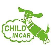 imoninn CHILD in car ステッカー 【シンプル版】 No.38 ミニチュアダックスさん (黄緑色)