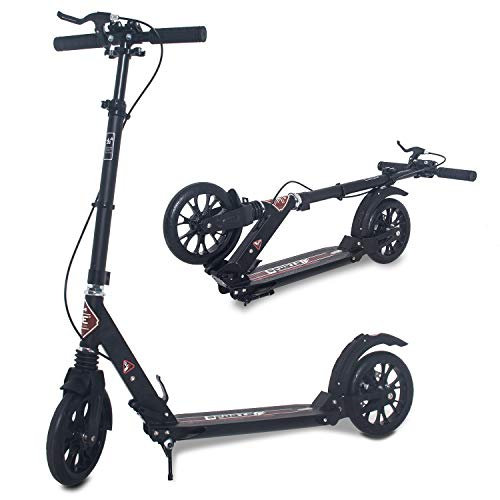 ISE Big Wheel Scooter Tretroller 200mm Roller Cityroller Klappbarer Scooter 93-107cm mit 2 Räder,Handbremse für Erwachsene und Kinder,belastet 100 kg,2 Farbeauswahl,nach EN957 geprüft (Sport-Style)