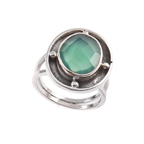 Anillo de plata de ley 925|Anillo de Ónix verde natural para mujer|Anillo de piedras preciosas naturales para niñas|Anillo de compromiso, anillo de Ónix verde|Tamaño del anillo 11.5