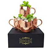 Moscow Mule Hammered Copper Mugs by Copper and Mill- Gift Box Set of Copper Cups Stainless-Steel...