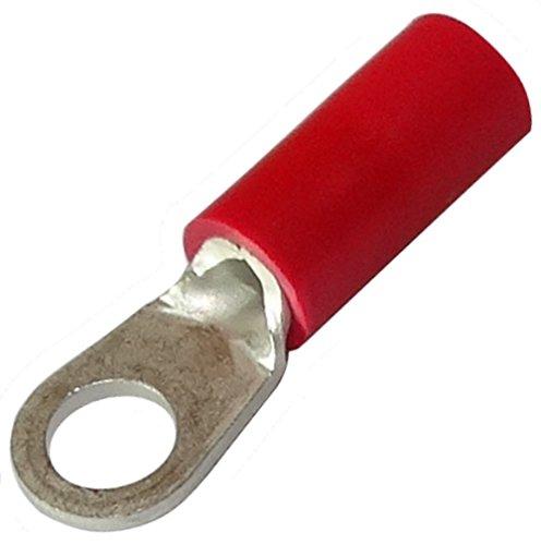 Aerzetix: 10 Kabelschuhe Elektroflachhülsen Auge Öse M3.5 Ø3.7mm 0.5-1.5mm2 rot isoliert