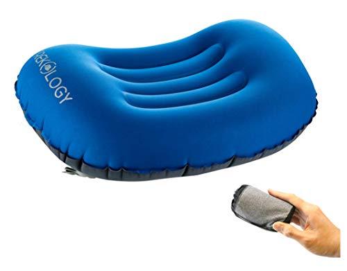 Trekology Ultralight aufblasbares Reise/Camping Kissen, komprimierbar, kompakt, aufblasbar, Komfortables, ergonomisches Kissen für Nacken & Lumbalstütze und für erholsameng (Blau)
